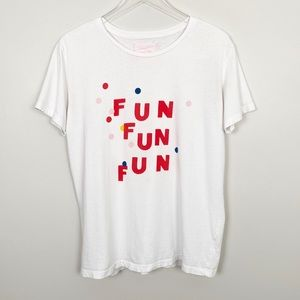 BAN.DO Fun Fun Fun Graphic Tee L White Novelty